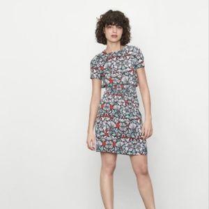 Maje Relia Smocked Waist Mini Dress Blue Red Print